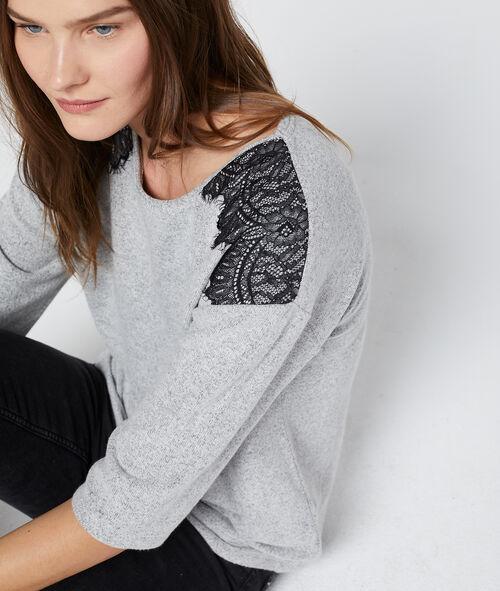 Camiseta con motivos de guipur