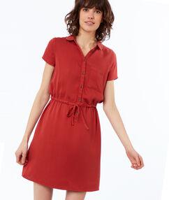 Vestido con bolsillo tencel rojo.
