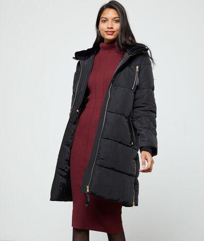 Abrigo con cuello de piel sintética