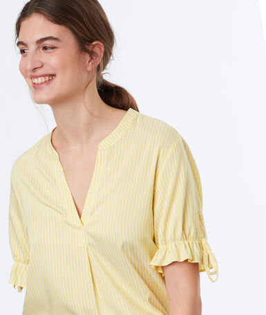 Top estampado de rayas amarillo.