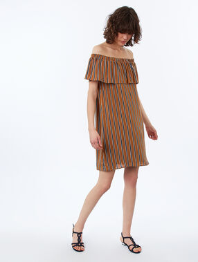Vestido estampado de rayas espaldas al descubierto c.ocre.