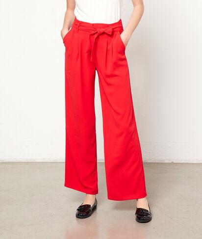 Pantalón ancho con cinturón lazada