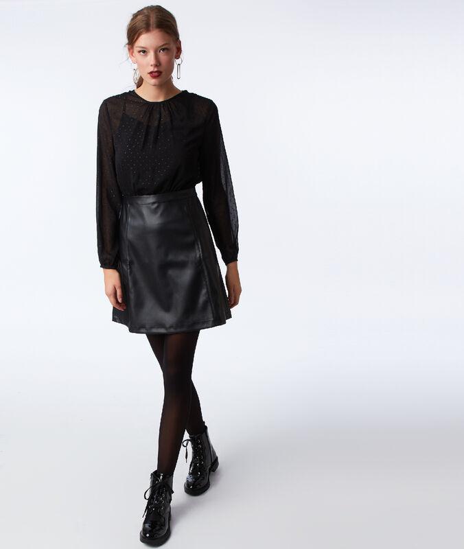 Vestido dos texturas abertura espalda negro.