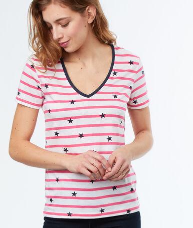 Camiseta escote en v estampado de rayas rosa.