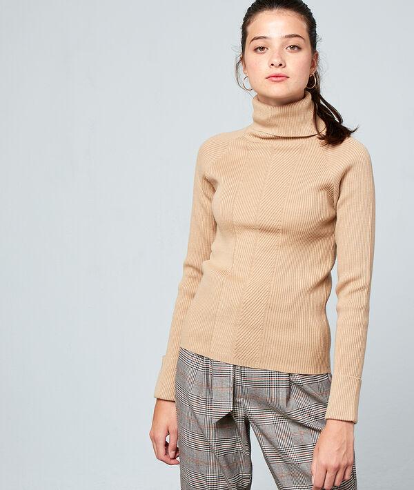 Suéter acanalado de cuello alto
