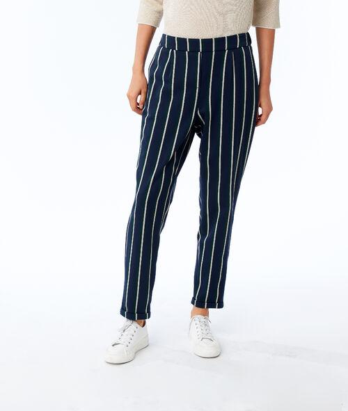 Pantalón talle alto estampado de rayas