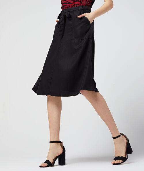 Falda midi con cinturón de Tencel
