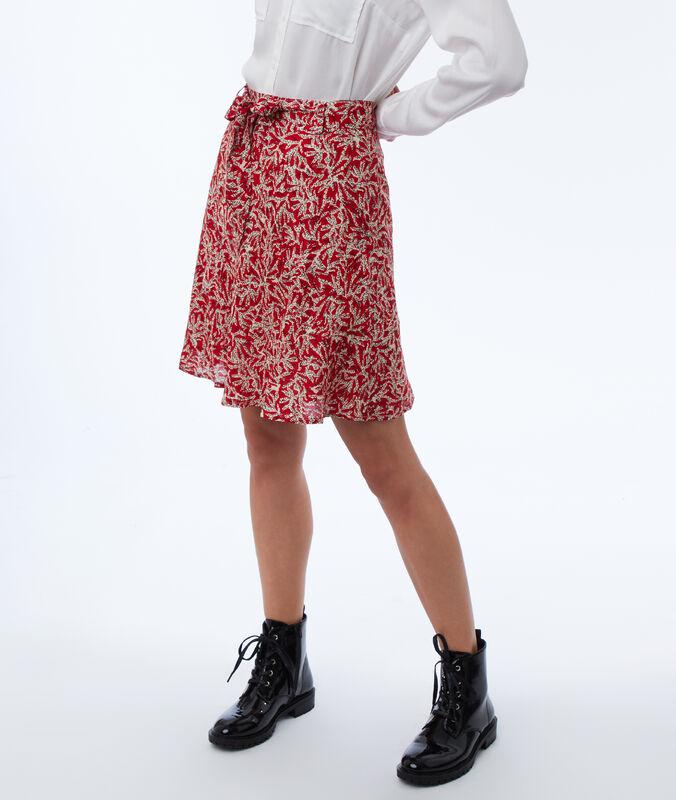 Falda estampada con cinturón coquelicot.