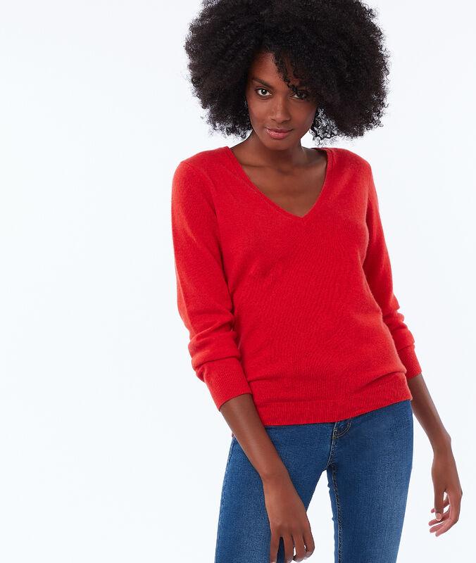 Jersey escote en v 100% cachemir rojo.