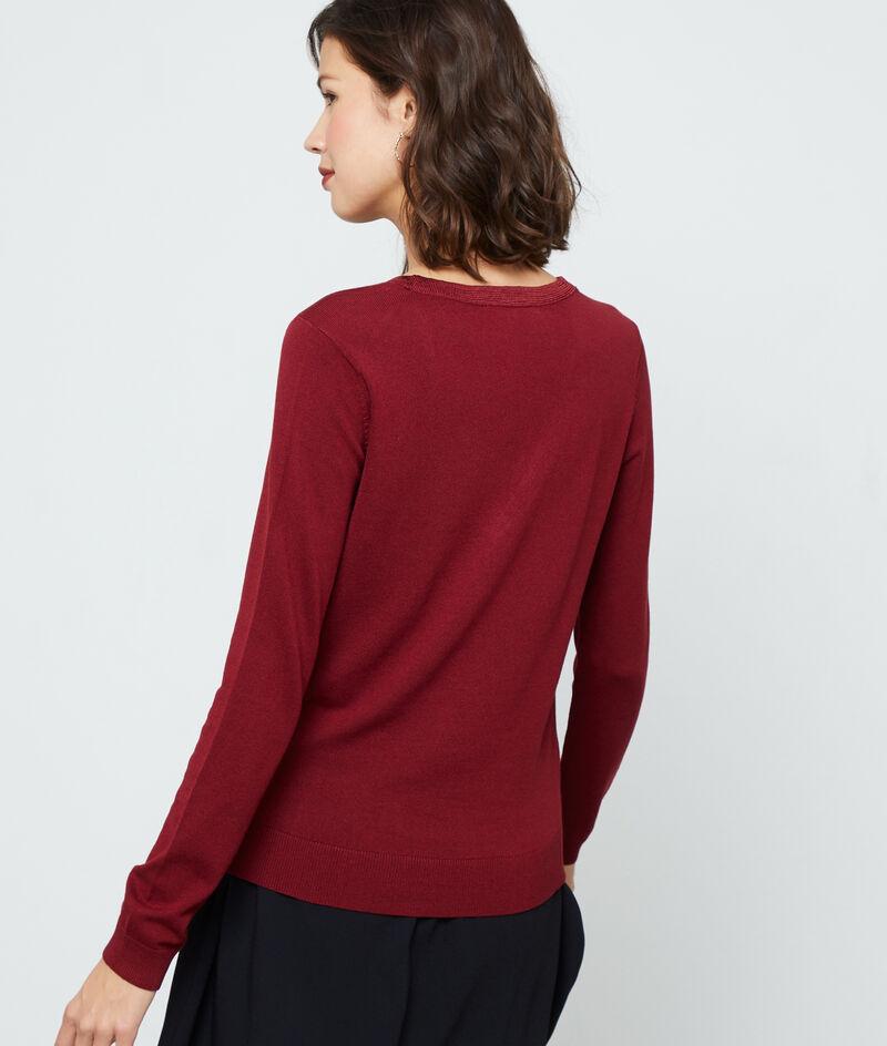 Suéter cuello en V de punto fino