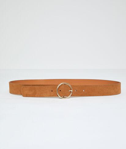 Cinturón hebilla redonda con recubrimiento de cuero