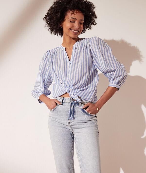 Camisa rayas con mangas abullonadas