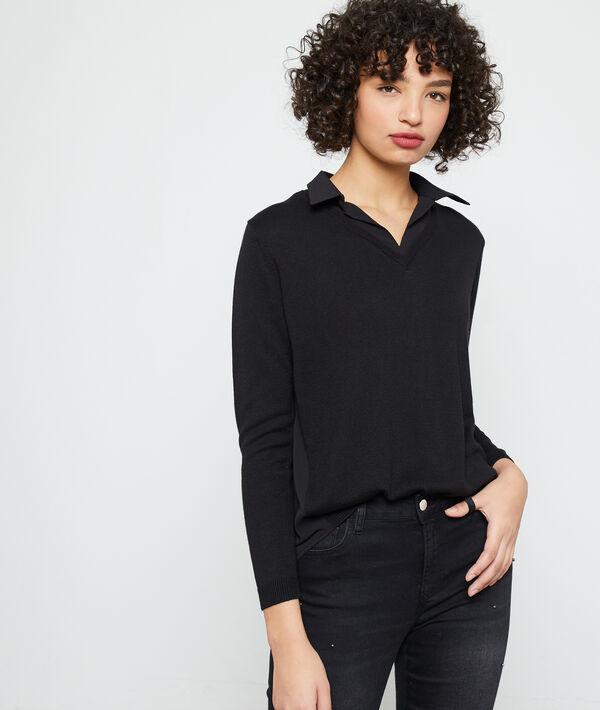 Suéter de punto fino cuello en V