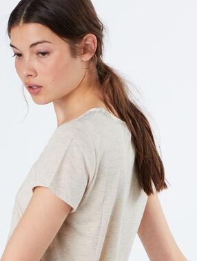 T-shirt effet pailleté beige.