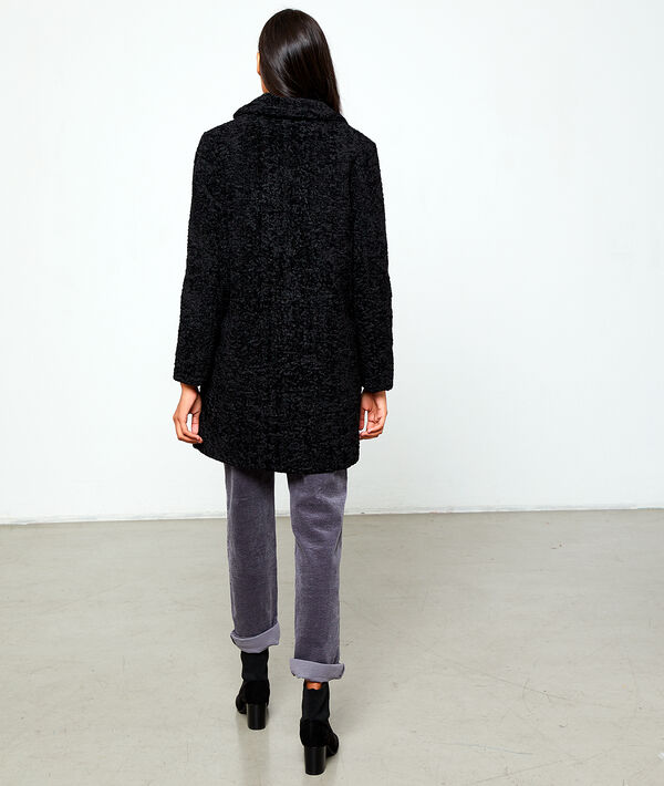 Abrigo largo efecto piel de lana