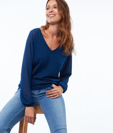 Jersey escote en v mangas con transparencias azul noche.