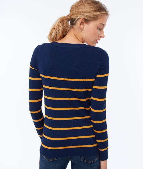 Jersey liso escote en V estampado de rayas