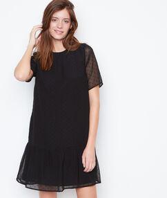 Vestido holgado plumetis negro.