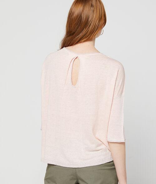 Suéter fino espalda abierta hilo metalizado