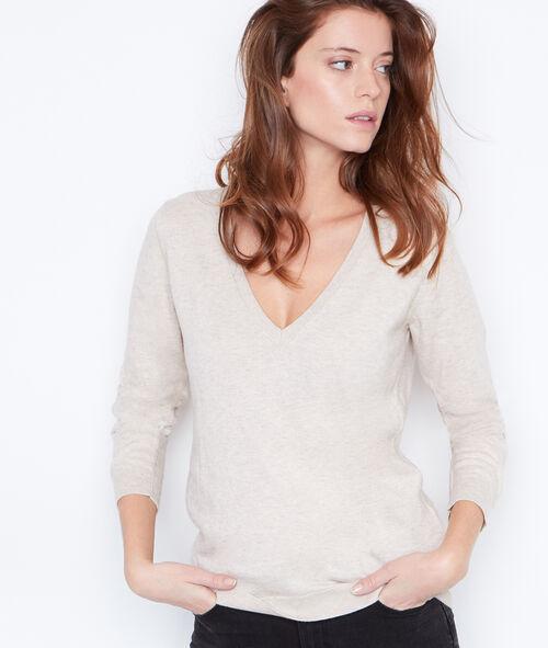 Jersey de algodón y cachemir escote en V