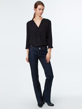Blusa lisa manga 3/4 negro.