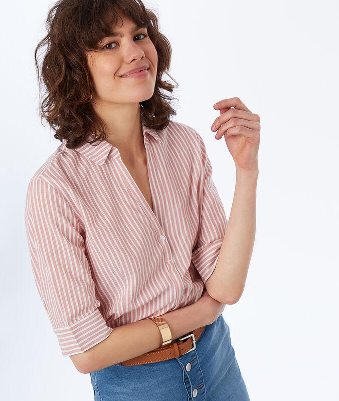 Camisa algodón estampado de rayas  rosa pálido.
