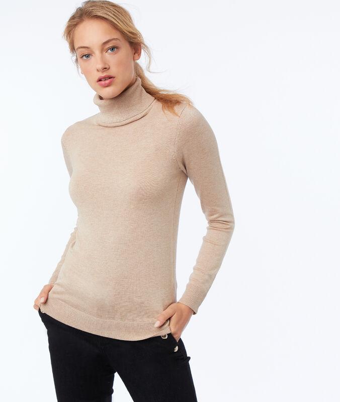 Jersey liso cuello alto c.beige.
