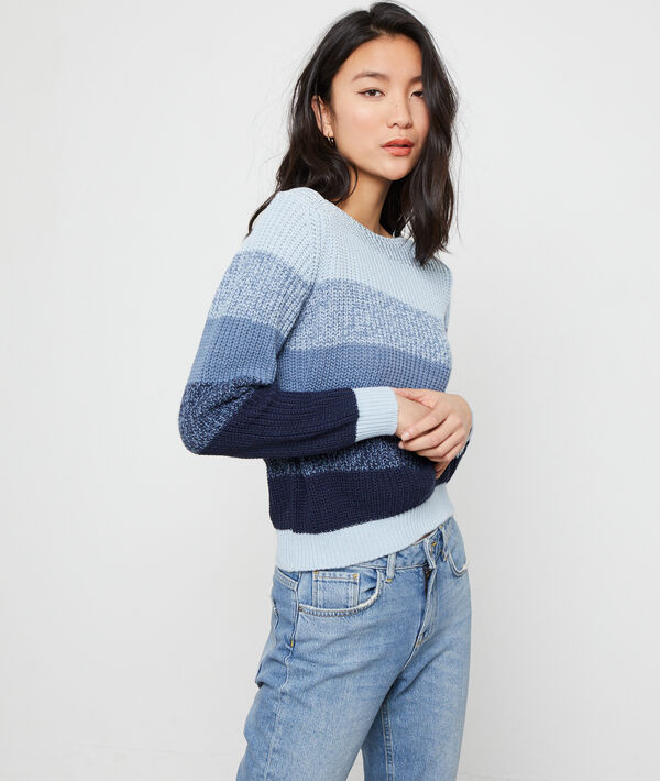 Suéter a rayas de punto grueso