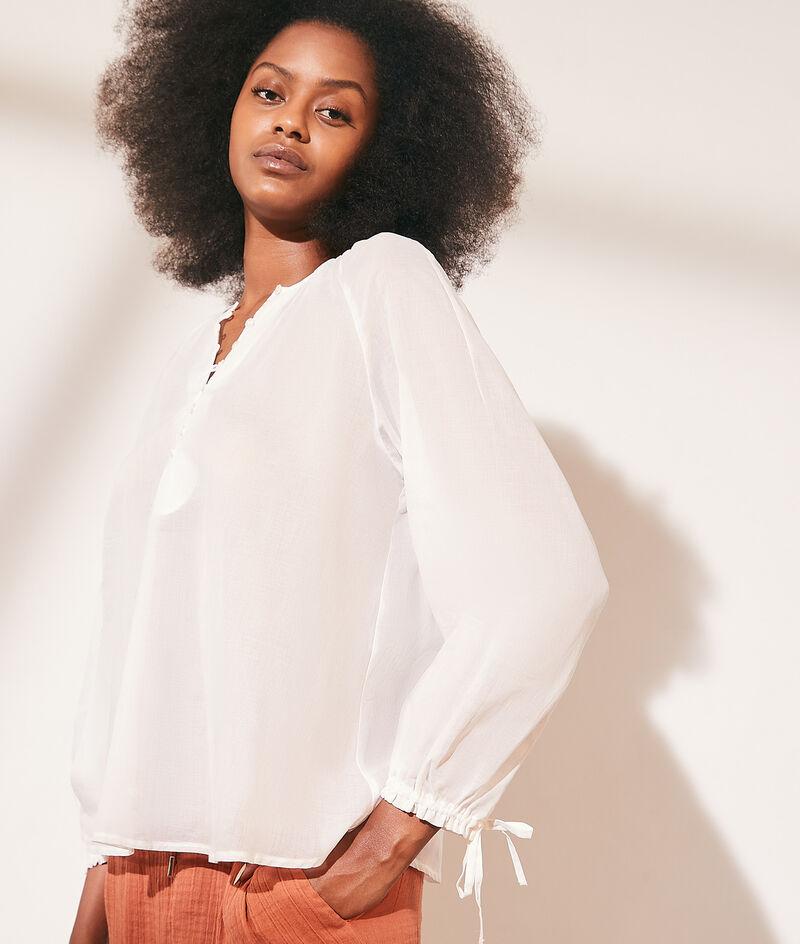 Blusa transparente de algodón