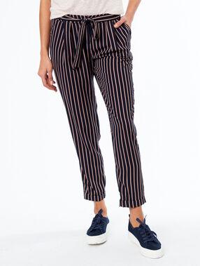Pantalón carrot estampado de rayas azul marino.