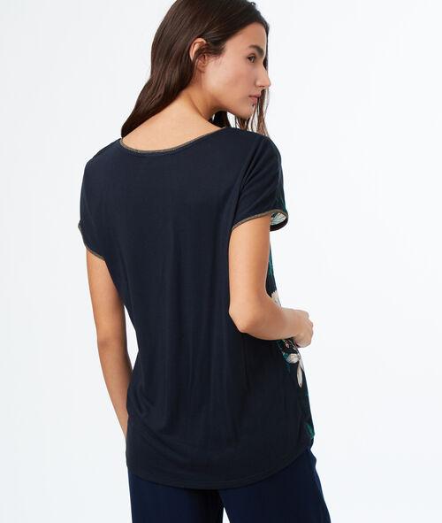Camiseta manga corta estampado tropical