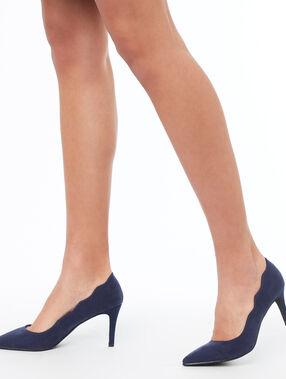 Zapatos tacón lisos azul marino.