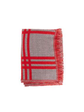 Pañuelo estampado de cuadros rojo.