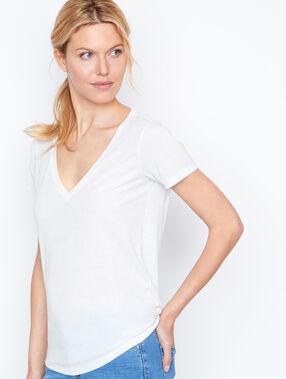 Camiseta escote en v efecto metalizado blanco.