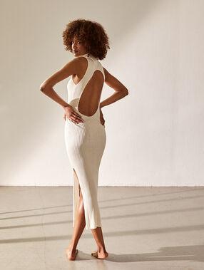 Vestido de punto acanalado espalda abierta crudo.