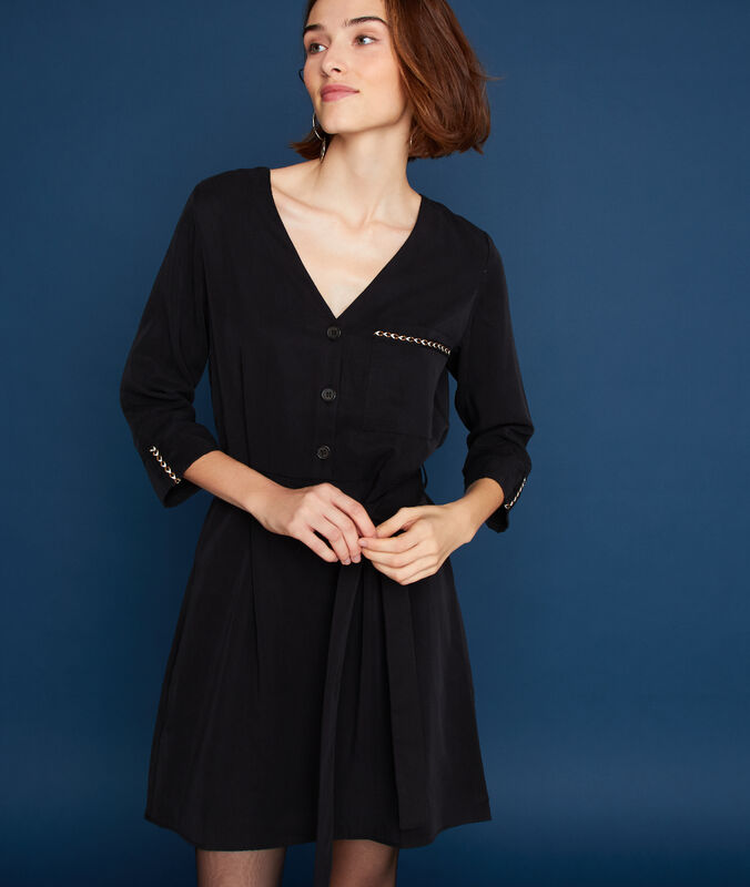 Robe ceinturée 100% tencel® noir.