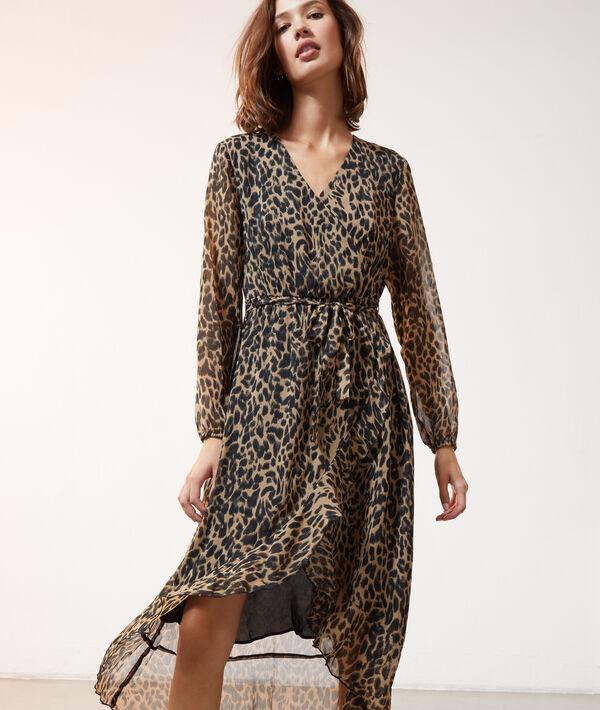 Vestido largo estampado leopardo