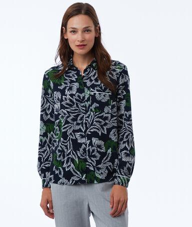 Camisa estampado tropical azul marino.