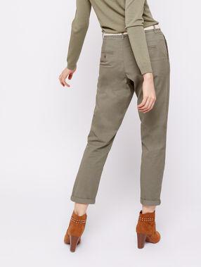 Pantalón con cinturón de algodón bio c.caqui.