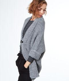 Gilet tricot oversize gris.