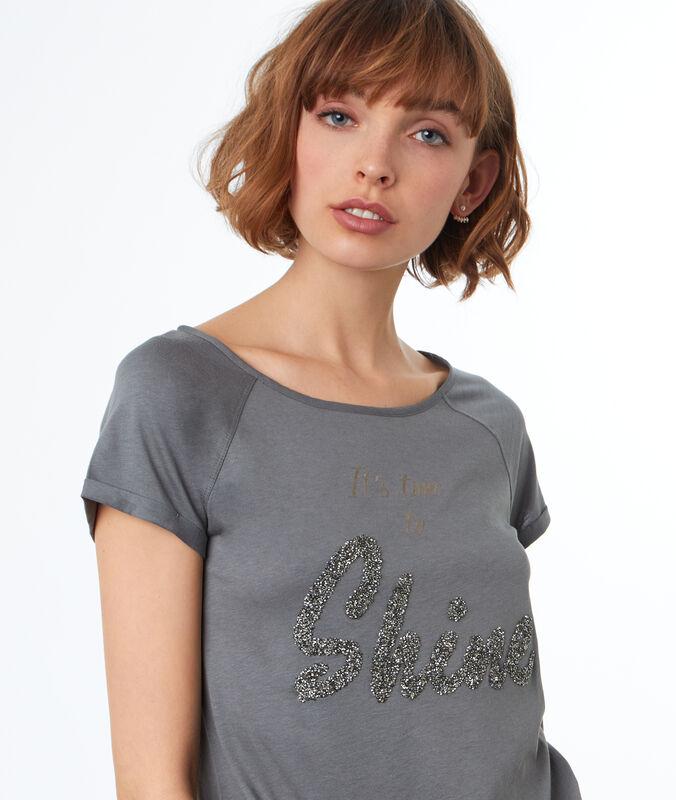 Camiseta estampado shine caqui.