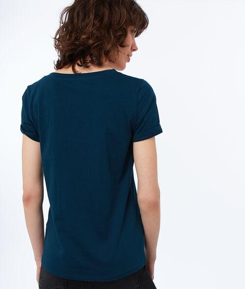 Camiseta escote en V de algodón