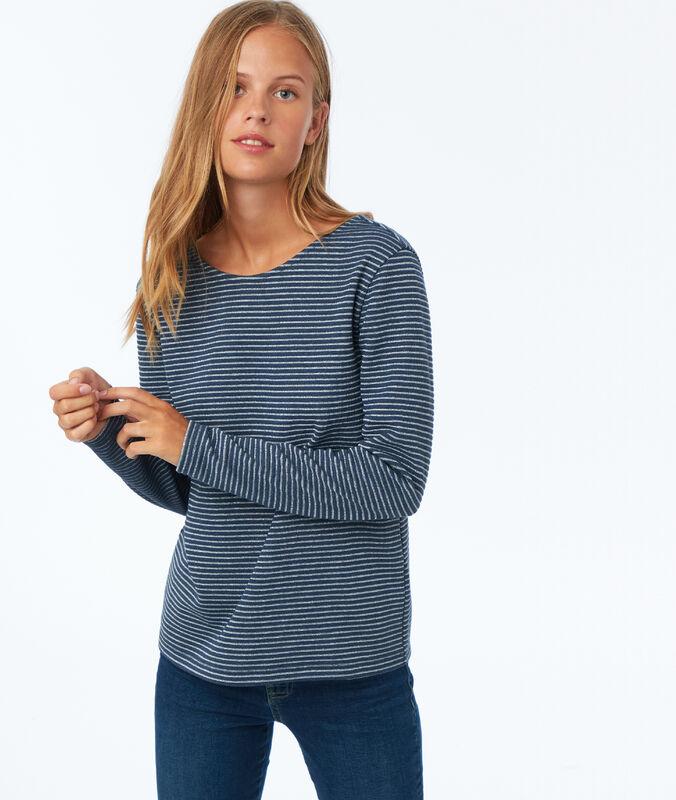 Jersey estampado de rayas azul marino.