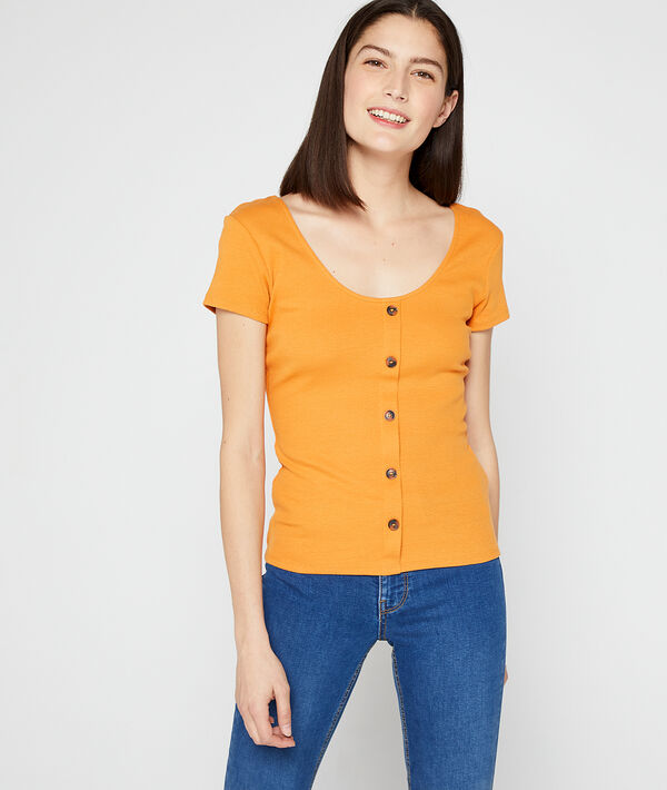Camiseta abotonada de algodón orgánico