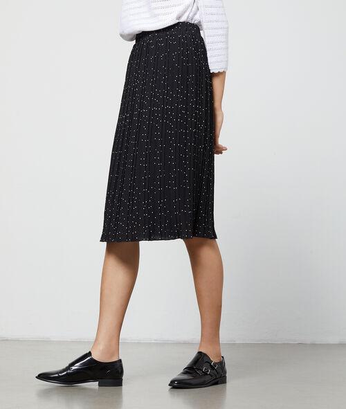 Falda midi plisada estampado de lunares
