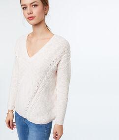 Jersey escote en v algodón rosa pálido.