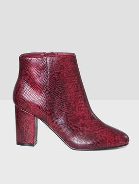 Boots à talons effet serpent bordeaux.