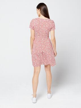 Vestido estampado floral carmín.