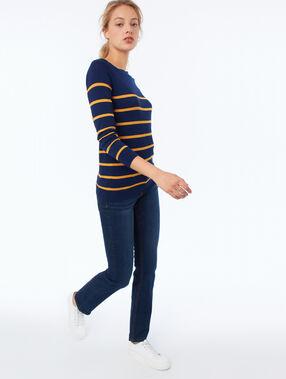 Jersey liso escote en v estampado de rayas azul marino.