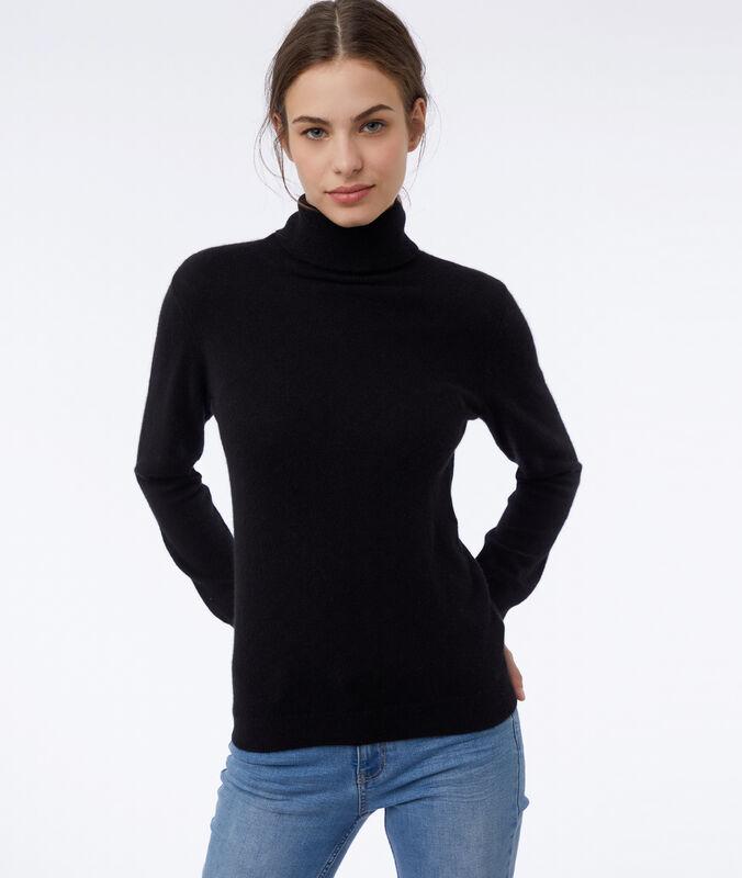 Jersey cuello alto 100% cachemir negro.